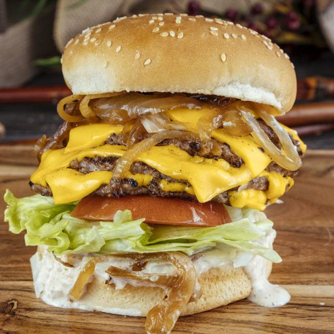 3 stack burger